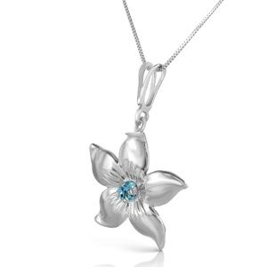 14K. GOLD FLOWER NECKLACE WITH NATURAL BLUE TOPAZ